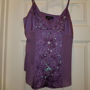 bebe silk cami with sheer sides
